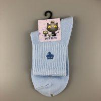 刺繡短襪- 藍
