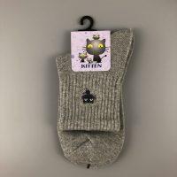 刺繡短襪- 灰