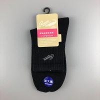 144針刺繡1/2棉襪(加大)- 黑