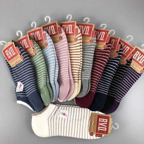 BVD條文毛巾底女踝襪
