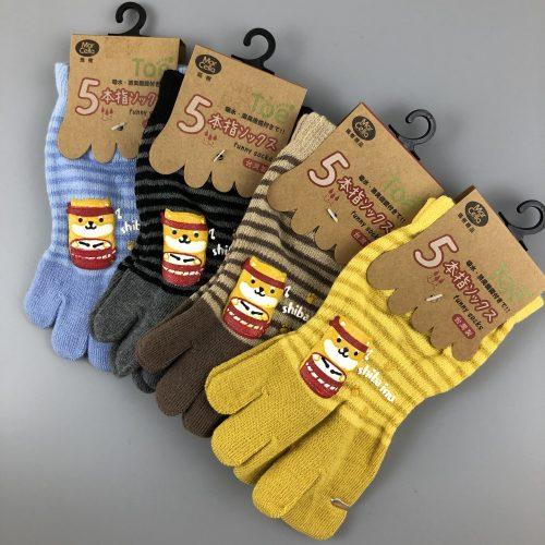 柴犬膠印五趾襪